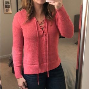 Coral Tie Up Loft Sweater